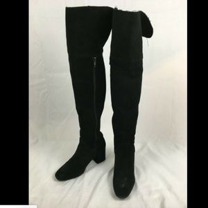 Zara TRF Black Suede Over the Knee Boots 37 6.5
